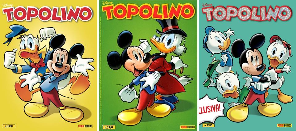 Le tre copie di Topolino 3380: edicola (sinistra), fumetteria (centro), online (destra)