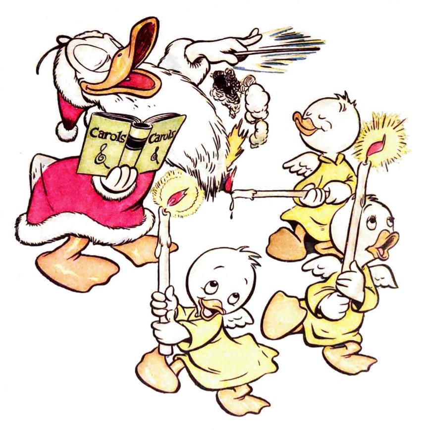 Il volume si apre con una bella illustrazione di Walt Kelly per la copertina di Walt Disney's Comics and Stories 64 del 1946, slegata dalle storie qui ristampate ma comunque evocativa nei riguardi del tema natalizio
