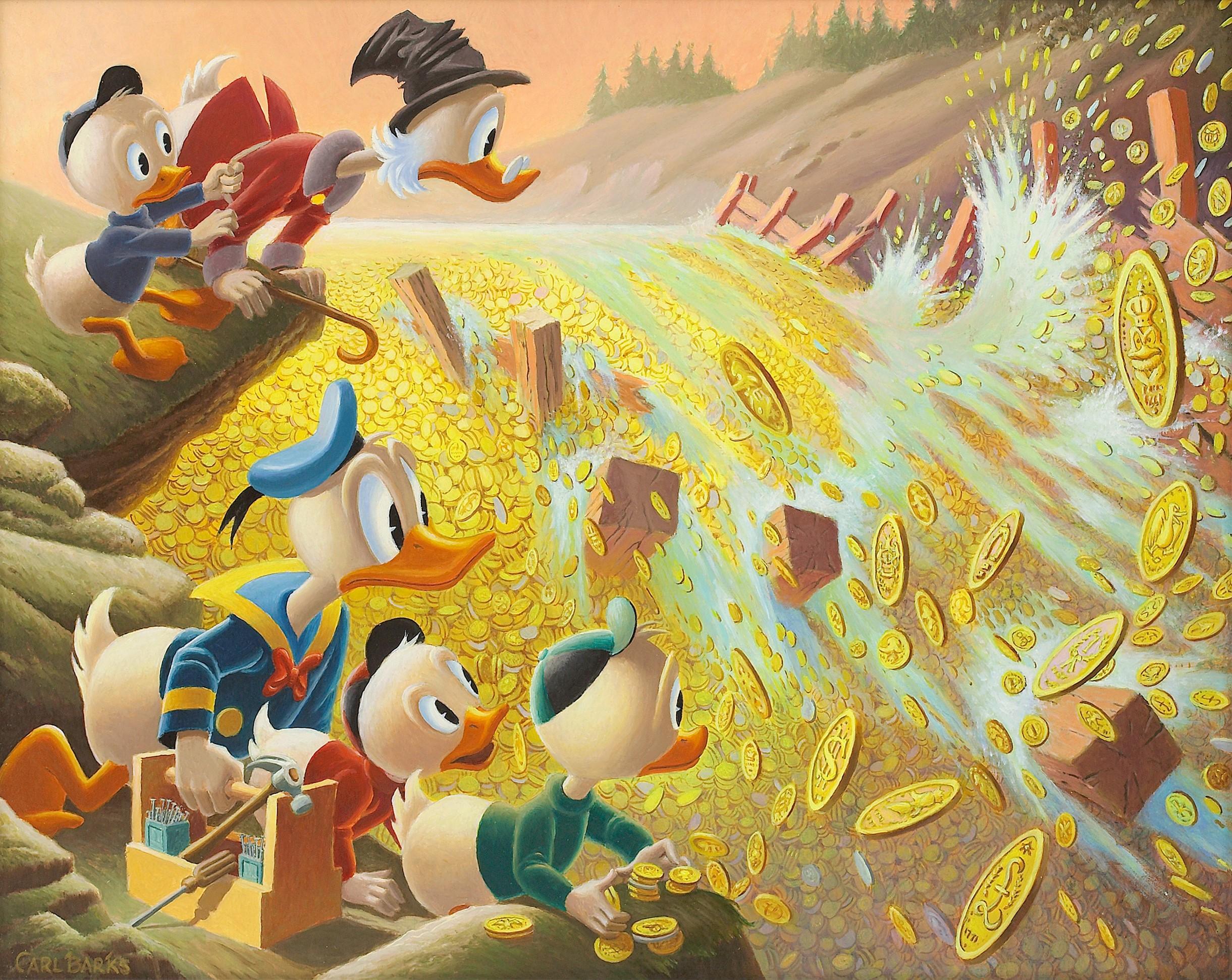 Di nuovo dal fumetto al dipinto ad olio: Dam Disaster at Money Lake (1986)